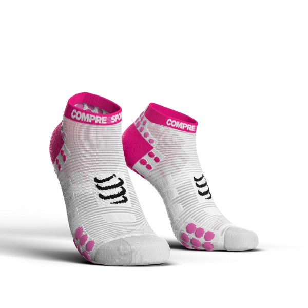 Compressport Pro Racing V3.0 - Low Cut Running Socks - White/Pink